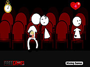 Stickman Kissing GF at Theater